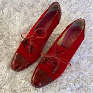 Kate Spade Red Croc Leather Lace Up Heels 9